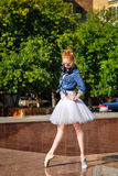 Ballerina dancing on the streets. Royalty Free Stock Images