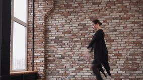 Contemporary dancer woman is practicing her dance for theatre stock video footage