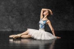 Ballerina demonstrates dance skills. Beautiful classic ballet. royalty free stock photos