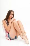 Ballerina in den Spitzenfarben von USA-Flagge und -jeans Lizenzfreie Stockfotos