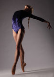 Ballerina in der blauen Ausstattung, die auf Zehen, grauer Studiohintergrund aufwirft unrecognizable Stockfotografie