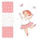 Ballerina di dancing e 3 modelli senza cuciture di vettore Progettazione di superficie per i bambini Fotografia Stock