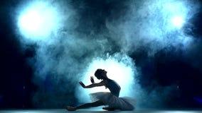 Ballerina die een training op blauwe, langzame motie doen stock videobeelden