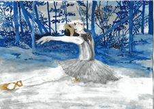 Ballerina die in Forest Watercolor dansen Stock Afbeeldingen