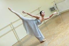Ballerina, die im Studio übt lizenzfreie stockfotografie