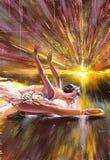 Ballerina die tegen de komende zon stijgt Royalty-vrije Stock Afbeeldingen