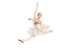 Ballerina die witte balletkleding in sprong draagt Stock Afbeelding