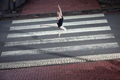 Ballerina doing ballet outdoor Royalty Free Stock Photo
