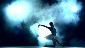 Ballerina doing a workout in the classroom, slow. Graceful ballerina doing a workout in the classroom. Smoke, fog, silhouette. ballet dancer in white tutu, girl stock footage