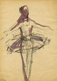 Ballerina, drawing 14. Hand drawing picture with standing ballet dancer Stock Images