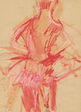 Ballerina, drawing 2. Hand drawing picture with woman ballet dancer Royalty Free Stock Photography