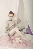 Ballerina dresses after rehearsal Royalty Free Stock Photo