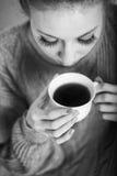 Ballerina drinking black tea. Portrait Royalty Free Stock Image