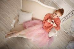 Ballerina drinking black tea and relax Stock Photography