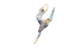 Ballerina in een sprong dubbele blootstelling Stock Afbeeldingen