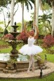 Ballerina in een tuin Stock Fotografie