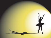 Ballerina en schaduw Stock Fotografie