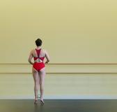 Ballerina at excercise rail. Ballerina at rail practicing strength and balance royalty free stock photo