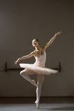Ballerina. Exercise in training room theater Stock Image