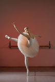 Ballerina. Exercise in training room theater Stock Photography