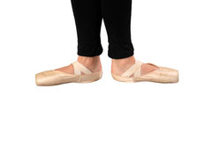 Ballerina feet. Isolated on a white background royalty free stock image