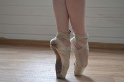 Ballerina feet in ballet shoes - pointe,. Ballerina feet in ballet shoes - pointe stock image
