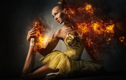 Ballerina in a fire. Digital art Royalty Free Stock Image