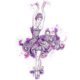 Ballerina with floral ornament dress and splashes in watercolor style. Stock Photo