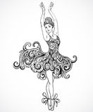 Ballerina with floral ornament dress. Vintage black and white hand drawn vector Royalty Free Stock Image