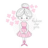 Ballerina Gently Pink Color Flowered Vector Illustration Royalty Free Stock Images