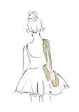 Ballerina girl in behind with ballet shoes line art minimal style illustration Stock Photos