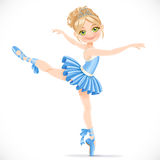 Ballerina girl dancing in blue dress Royalty Free Stock Photos