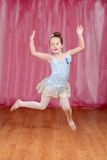 Ballerina girl dancing and jumping Royalty Free Stock Photo