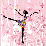 Ballerina girl with flowers Stock Image