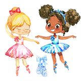 Ballerina Girl Friend Couple Character Training. Cute African American Child wear Blue Tutu Dress and Pointe Pose in. Multiracial School. Baby Ballet Greeting royalty free illustration