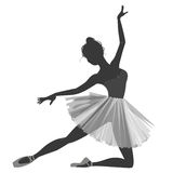 Ballerina girl silhouette isolated on white background Royalty Free Stock Photography