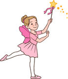 Ballerina Girl. Vector hand drawn cartoon character illustration of a smiling cute little Caucasian ballerina girl dancing in a fairy costume with wings and Royalty Free Stock Photography