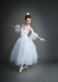 Ballerina on a grey background Royalty Free Stock Images