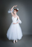 Ballerina on a grey background Royalty Free Stock Image