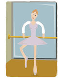 Ballerina gripping pole lifting leg. Dancer in studio practicing ballerina steps with pole and mirror Royalty Free Stock Image