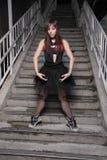 Ballerina in het stedelijke plaatsen Stock Foto's