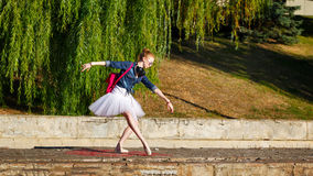 Ballerina hipster dancing on the street. Royalty Free Stock Images
