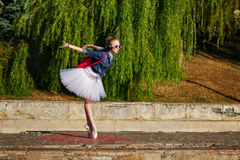 Ballerina hipster dancing on the street. Royalty Free Stock Photos