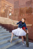 Ballerina hipster. Selfie on the street. Royalty Free Stock Image