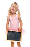 Ballerina holds chalk board Stock Photo