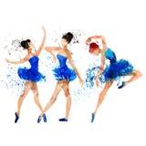 Ballerina i blå vattenfärg Royaltyfria Bilder