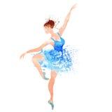Ballerina i blå vektorvattenfärg Arkivbilder