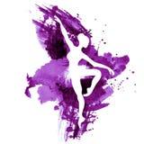 Ballerina i dans svartvit vattenfärg Arkivbilder