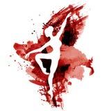 Ballerina i dans svartvit vattenfärg Royaltyfria Bilder