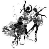 Ballerina i dans vattenfärg Arkivfoto